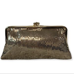Whiting and Davis gold sequin clutch